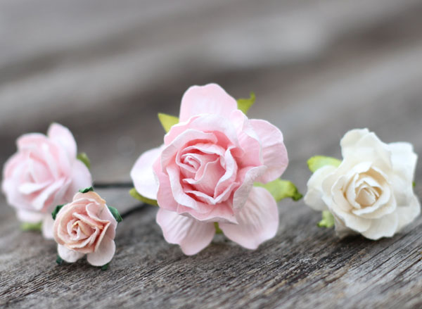 Blush Wedding Flower Bobby Hair Pins Ivory Bridal Hair Picks